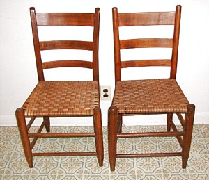 Caned bottom ladder back chairs