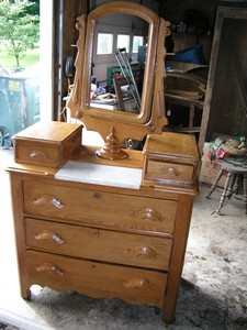 Watch for this Oak Marble Top Bureau at Janet's Flea Markets at the 2004 Covered Bridge Festival