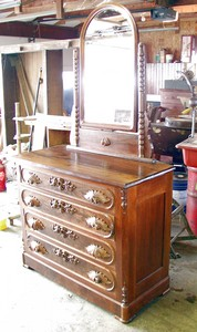 Old Solid Walnut Dresser with Mirror - After