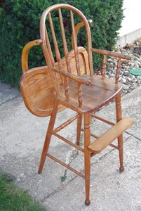 Old High chair = how's this for a before and after picture!